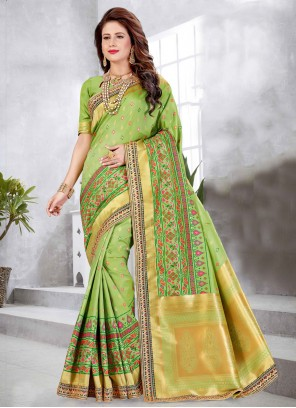 Green Art Silk Festival Designer Traditional Saree