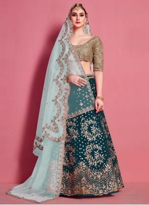 Green Art Silk Lace A Line Lehenga Choli
