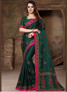 Green Art Silk Patch Border Designer Traditional Saree