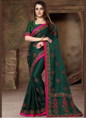 Green Art Silk Patch Border Designer Traditional Saree
