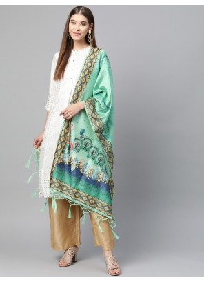 Green Art Silk Printed Designer Dupatta