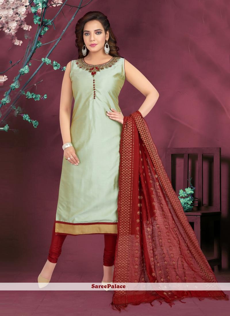 Green Art Silk Readymade Suit