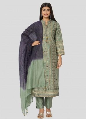 Green Art Silk Reception Salwar Suit