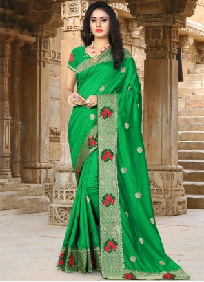 Green Art Silk Resham Designer Traditional Saree