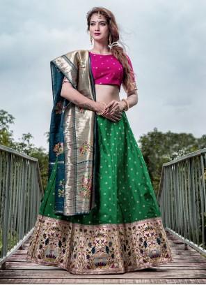 Green Banarasi Silk A Line Lehenga Choli