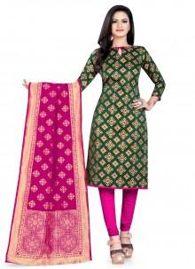 Green Banarasi Silk Churidar Salwar Suit