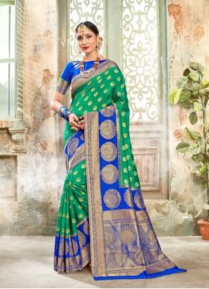 Green Banarasi Silk Classic Designer Saree