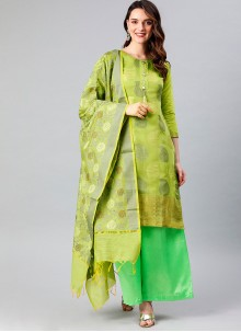 Green Banarasi Silk Designer Palazzo Suit