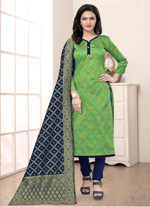 Green Banarasi Silk Festival Churidar Salwar Suit