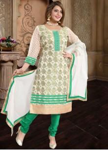 Green Banarasi Silk Festival Churidar Suit