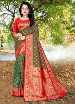 Green Banarasi Silk Festival Traditional Designer Saree