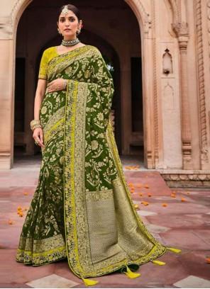 Green Banarasi Silk Mehndi Classic Designer Saree