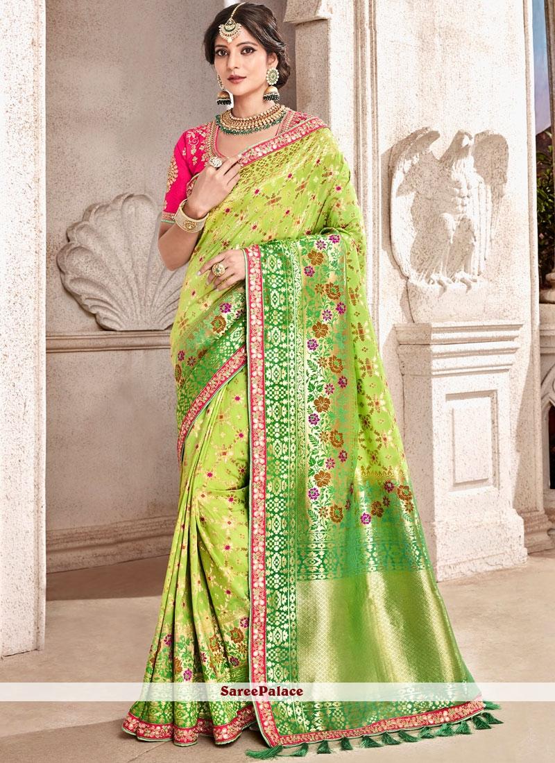 Green Banarasi Silk Patch Border Traditional Designer Saree