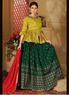 Green Banarasi Silk Readymade Lehenga Choli