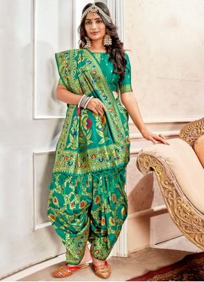 Green Banarasi Silk Reception Different Style Saree
