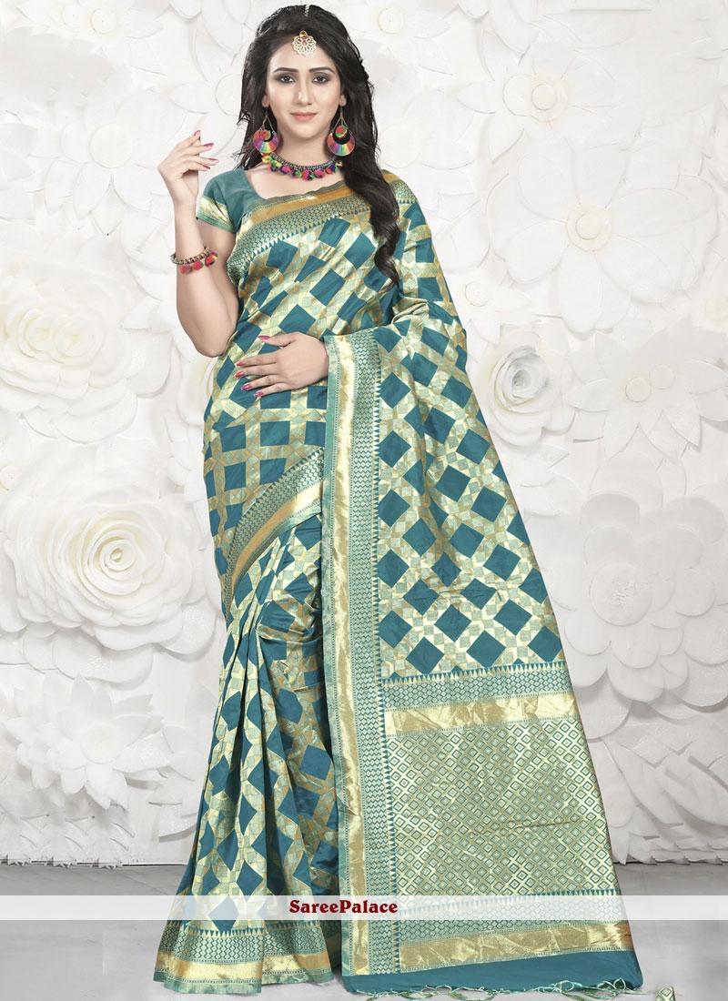 Green Banarasi Silk Sangeet Designer Saree