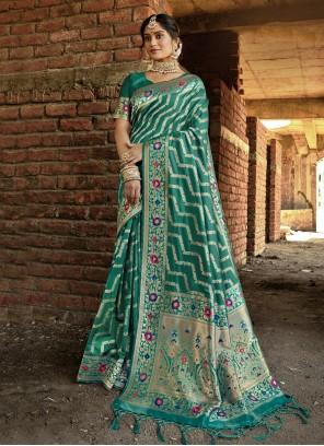 Green Banarasi Silk Traditional Designer Saree