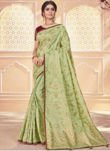 Green Banarasi Silk Traditional Saree
