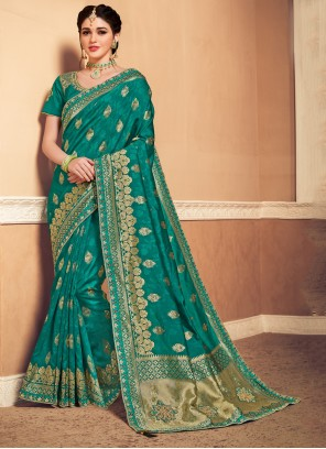 Green Banarasi Silk Traditional Saree