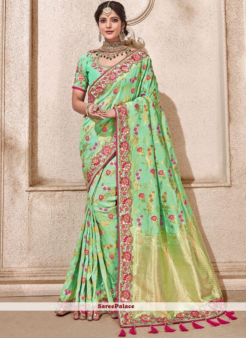 Green Banarasi Silk Wedding Designer Traditional Saree