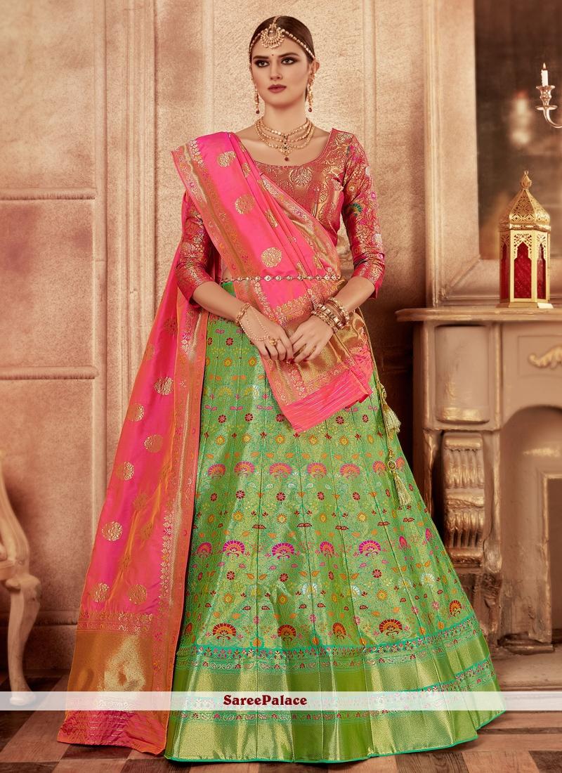 e18523fab26 Buy Green Banarasi Silk Wedding Lehenga Choli Online