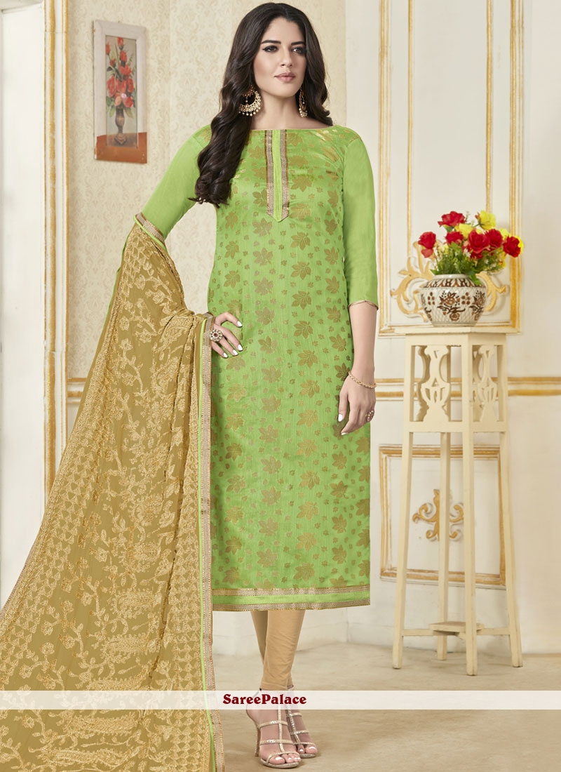 Green Banarasi Silk Woven Churidar Salwar Kameez