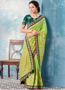 Green Banglori Silk Embroidered Classic Saree