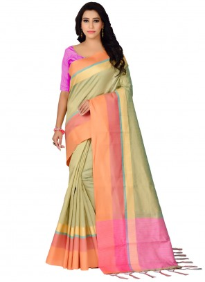Green Bhagalpuri Silk Festival Traditional Saree