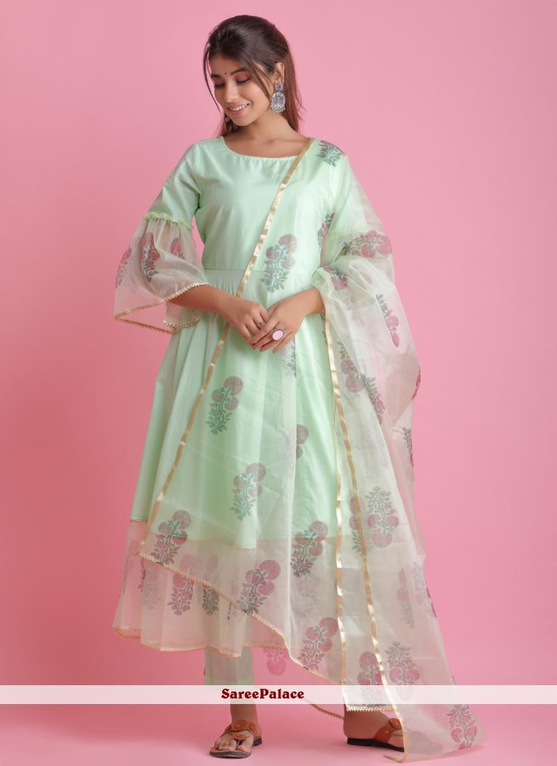 Green Block Print Fancy Fabric Readymade Suit