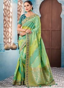 Green Border Tafeta silk Trendy Saree