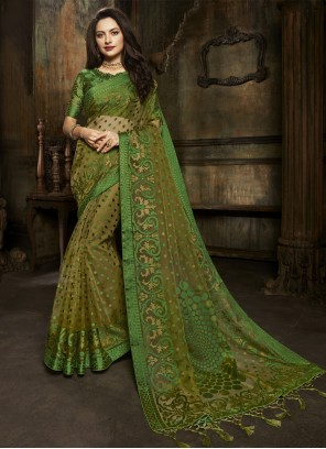 Green Brasso Ceremonial Designer Saree