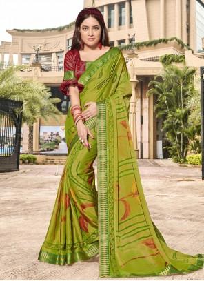 Green Brasso Printed Classic Saree