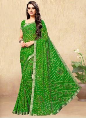Green Faux Chiffon Casual Saree