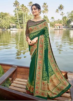 Green Casual Chanderi Printed Saree