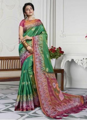 Green Casual Contemporary Saree