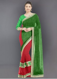 Green Casual Faux Georgette Casual Saree