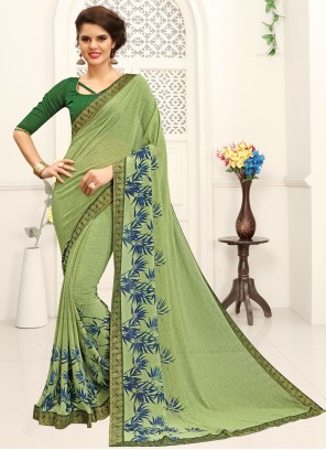 Green Casual Faux Georgette Printed Saree