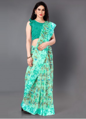 Green Abstract Print Casual Cotton Saree