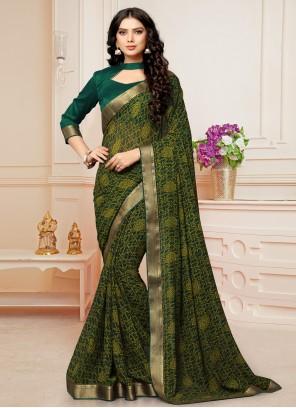 Green Abstract Print Casual Saree