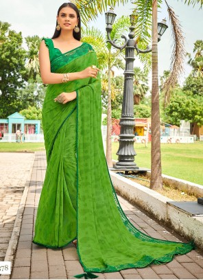Green Abstract Print Georgette Casual Saree