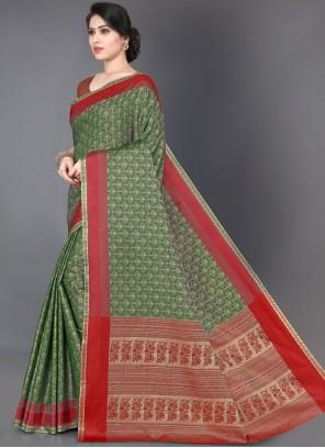 Green Casual Silk Trendy Saree