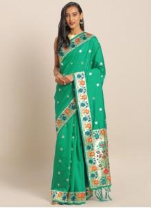 Green Ceremonial Art Banarasi Silk Saree