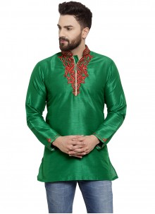 Green Ceremonial Art Dupion Silk Kurta