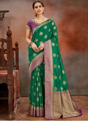 Green Ceremonial Art Silk Designer Traditional Saree