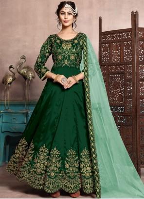 Green Ceremonial Art Silk Floor Length Anarkali Suit