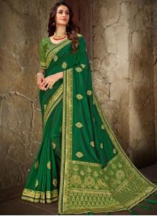 Green Ceremonial Art Silk Trendy Saree