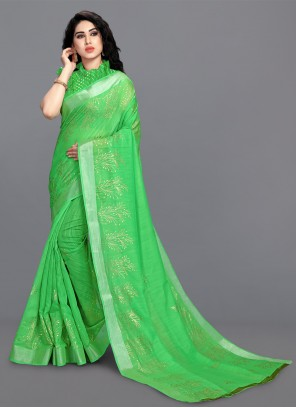 Green Ceremonial Cotton Printed Saree