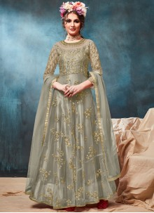 Green Ceremonial Floor Length Anarkali Suit