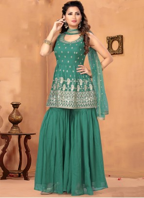 Green Ceremonial Georgette Designer Salwar Suit