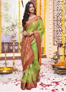 Green Ceremonial Jacquard Classic Designer Saree